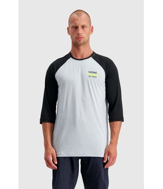 Mons Royale Mens Tarn Freeride Raglan 3/4 Black / Grey