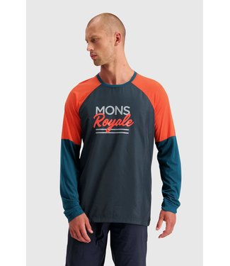 Mons Royale Mens Tarn Freeride LS Wind Jersey Atlantic / Orange Smash