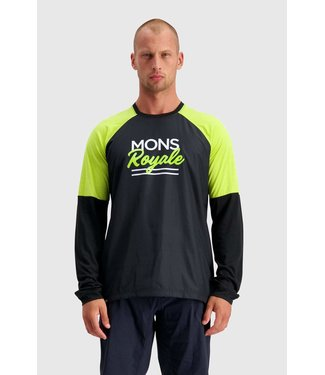 Mons Royale Mens Tarn Freeride LS Wind Jersey Black / Sonic Lime