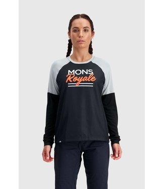 Mons Royale Womens Tarn Freeride LS Wind Jersey Black / Grey