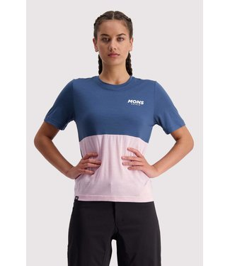 Mons Royale Womens Tarn Freeride Tee Dark Denim / Powder Pink