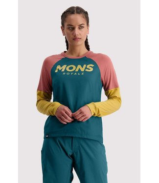 Mons Royale Womens Tarn Freeride LS Wind Jersey Deep Teal / Pink Clay / Honey