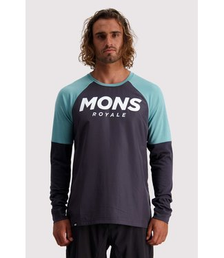 Mons Royale Mens Tarn Freeride LS Wind Jersey 9 Iron/ Sage