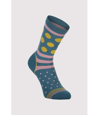 Mons Royale Womens All Rounder Crew Sock Deep Teal / Pink Clay / Honey