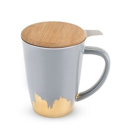 Pinky Up Bailey Tea Mug Infuser Grey Gold