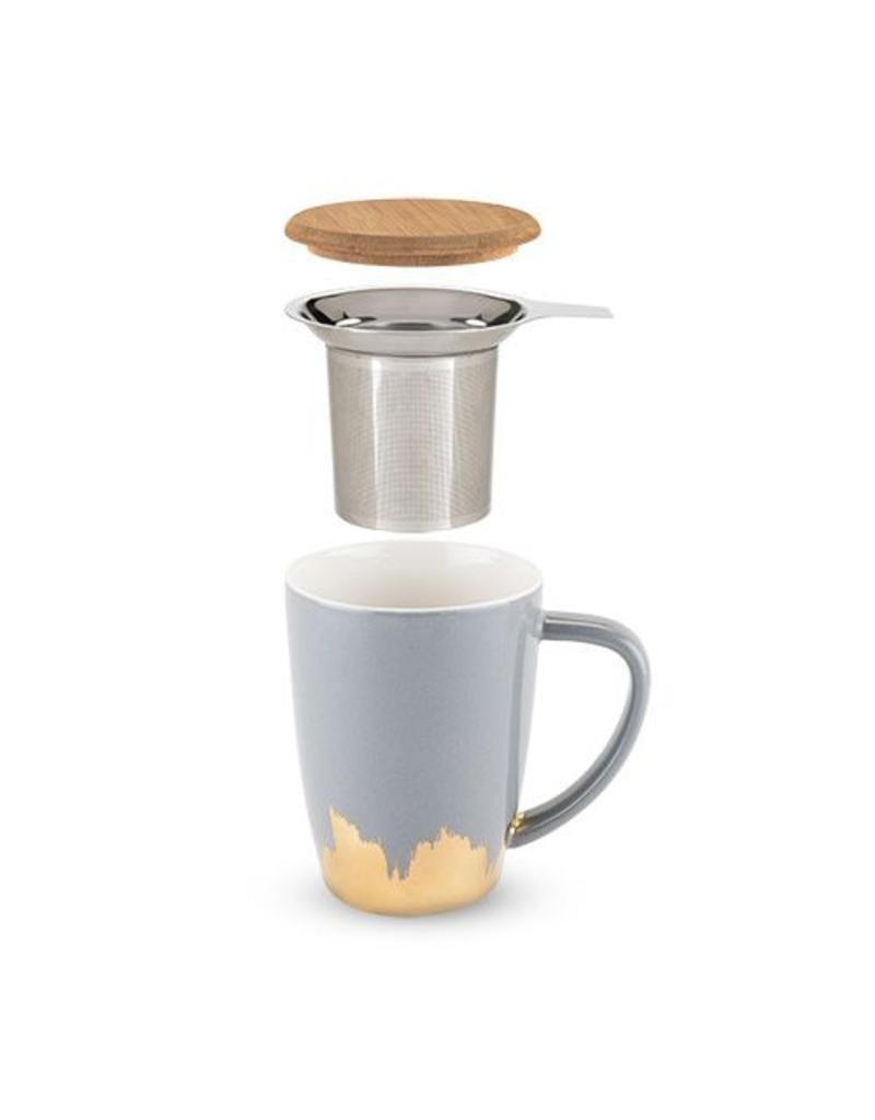 True Fabrications Bailey Tea Mug Infuser Grey Gold