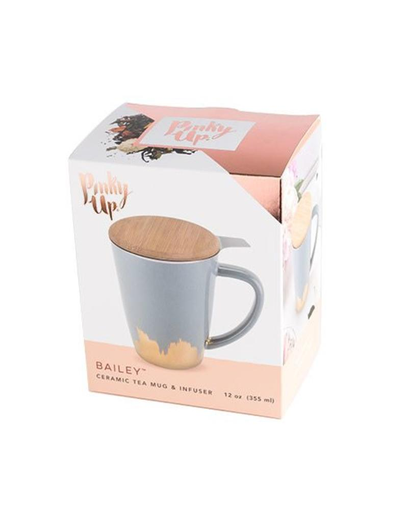 Pinky Up Bailey Tea Mug Infuser Grey Gold