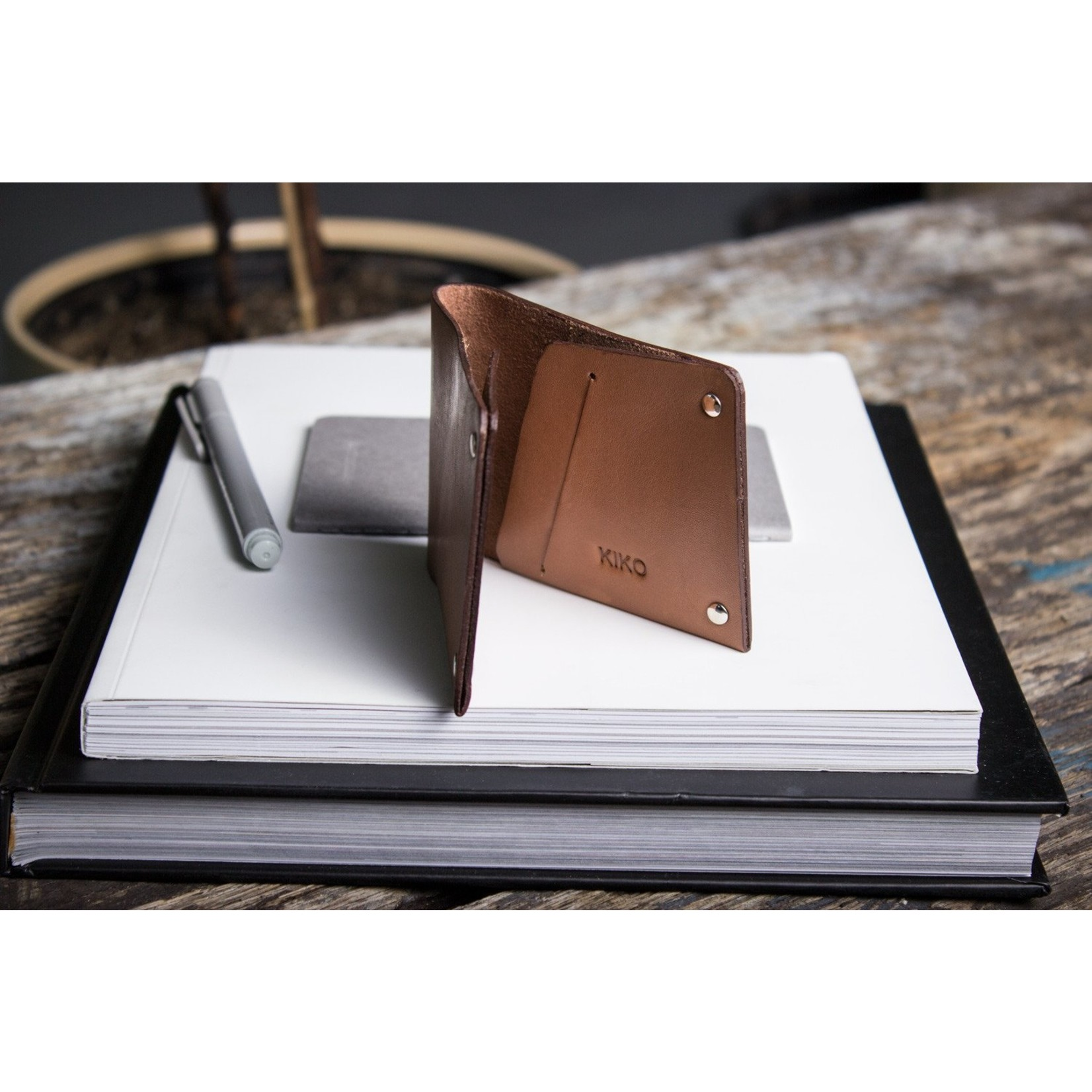 Kiko Leather Kiko Unstitched Billfold Wallet in Brown