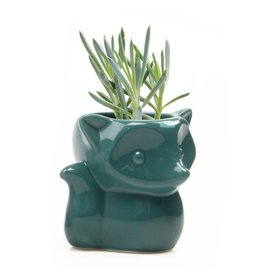 Chive Fox Planter in Green