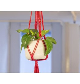 Kikkerland Macrame & Cement Planter in Red