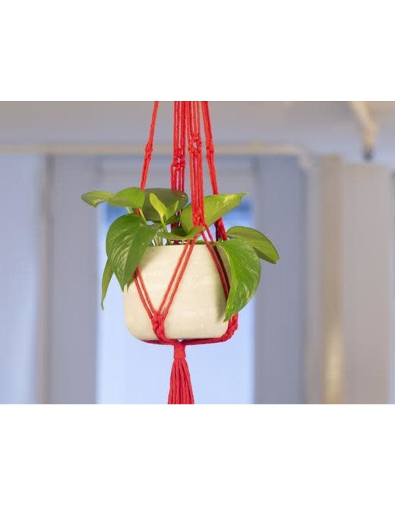 Macrame & Cement Planter in Red