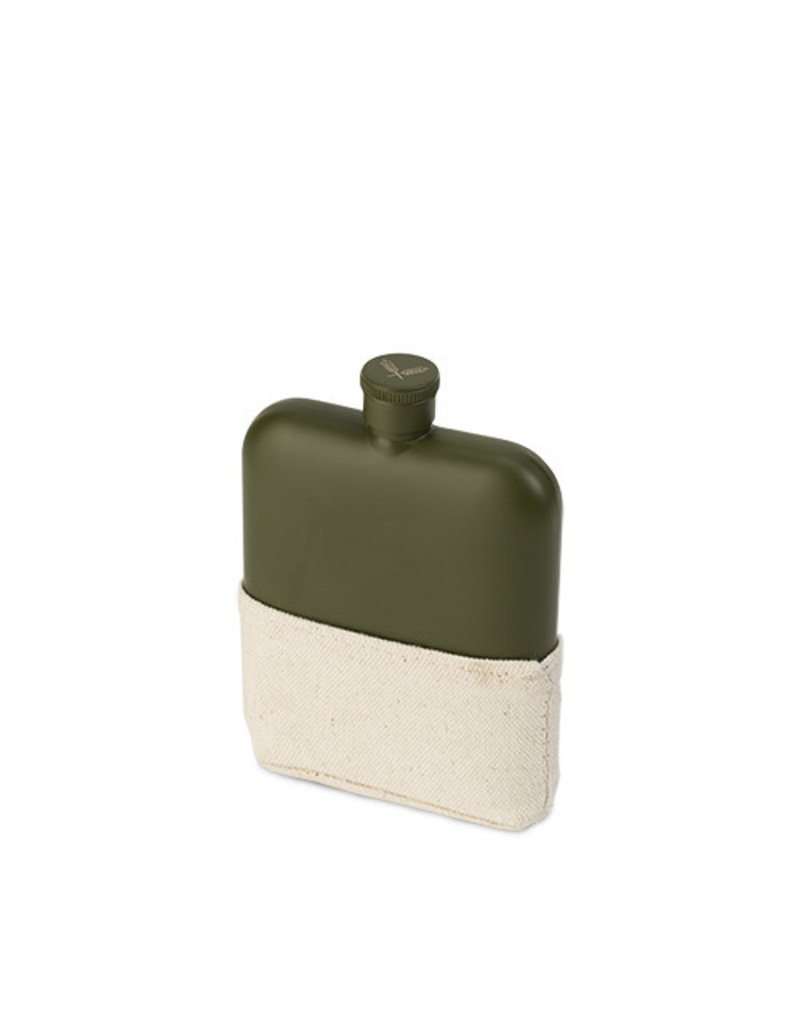True Fabrications Matte Army Green Flask