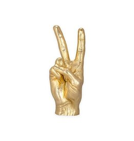 Kikkerland Gold Peace Sign Sculpture