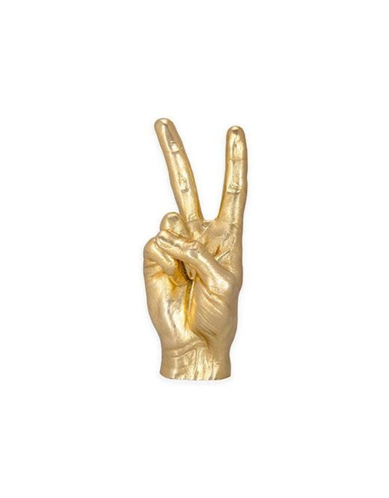 Kikkerland Gold Peace Sign Sculpture