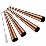 Viski Wide Copper Cocktail Straws