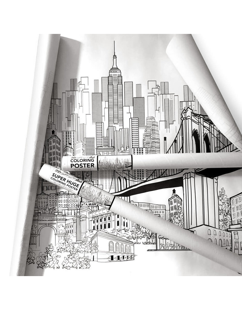 Brooklyn Bell Tower New York City Coloring Poster