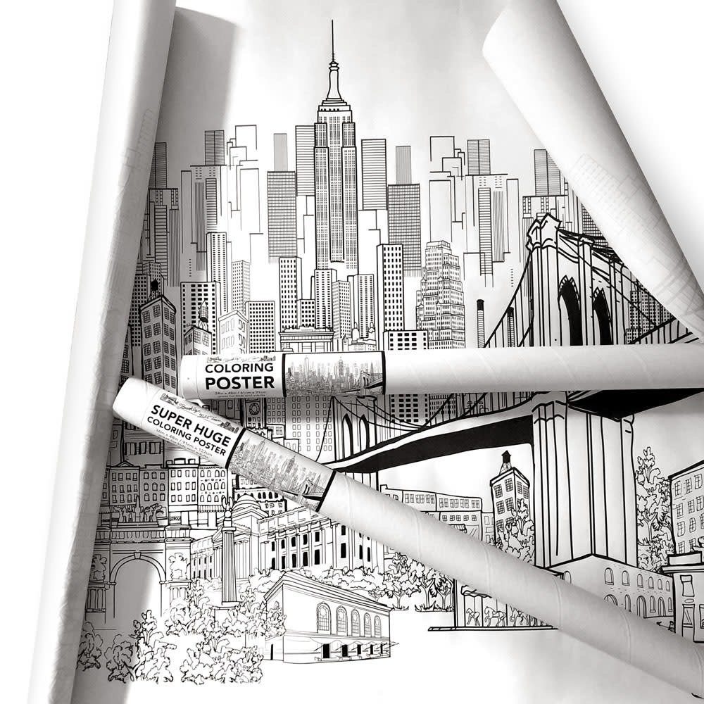 """New York City Skyline in Color poster 24x36/"""""""