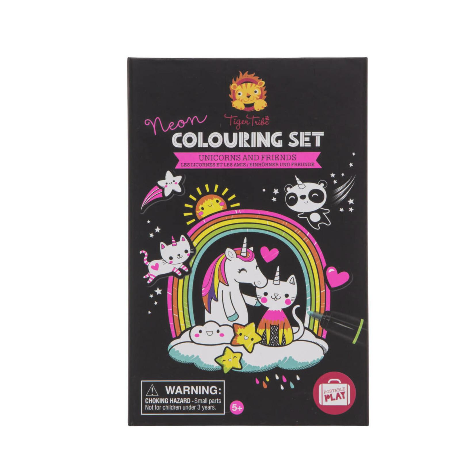 Tiger Tribe Unicorns & Friends Neon Coloring Set