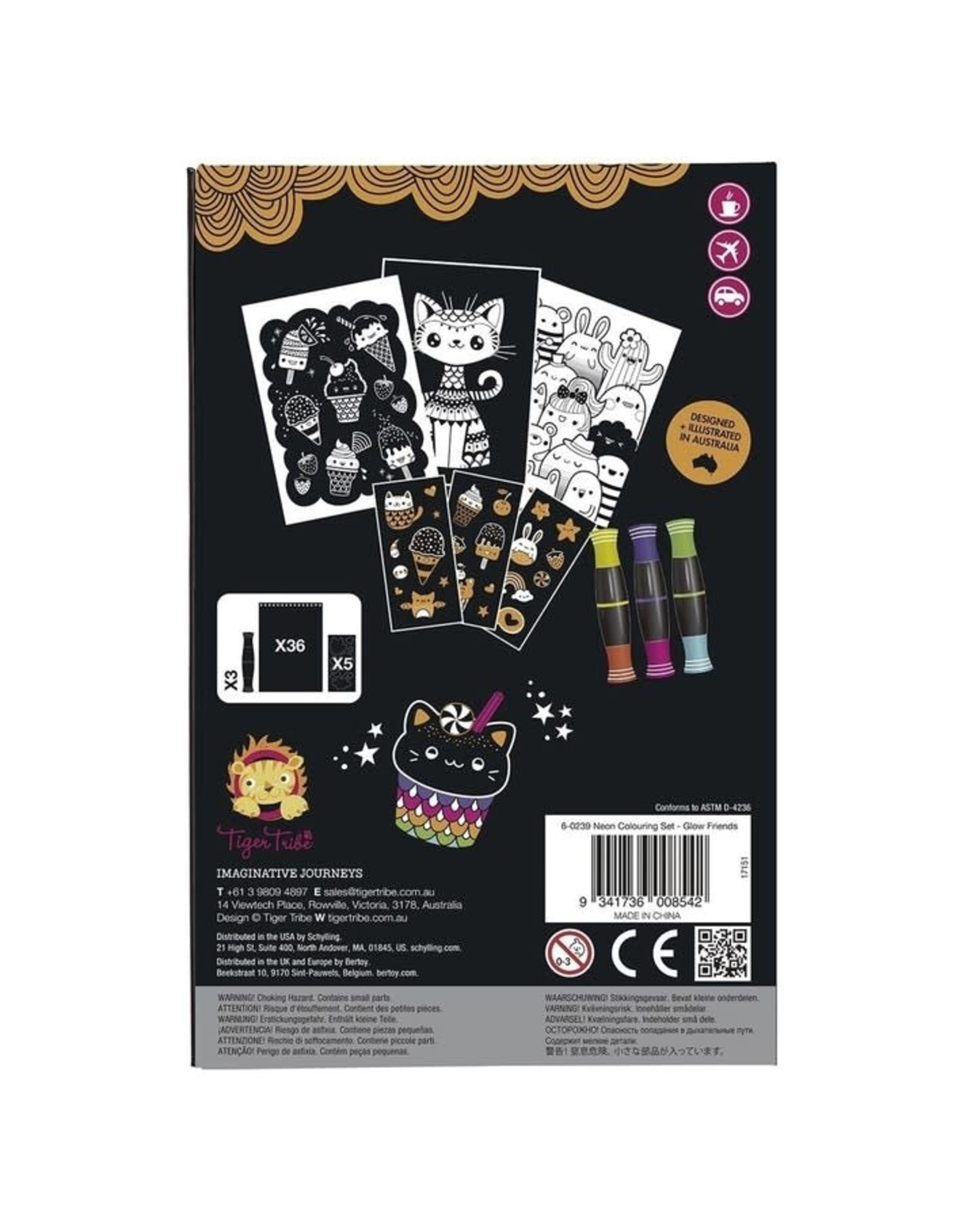 Tiger Tribe Glow Friends Neon Coloring Set