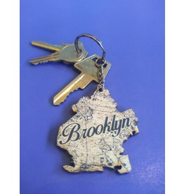 LetterCraft Brooklyn Map Wooden Keychain