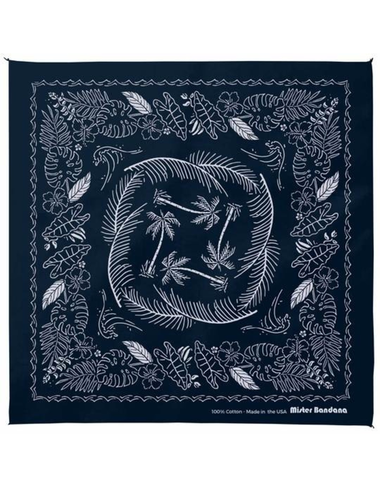 Mister Bandana Tahiti Nights Screen Printed Bandana in Navy