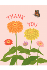 Thank You Card: Butterfly & Flowers