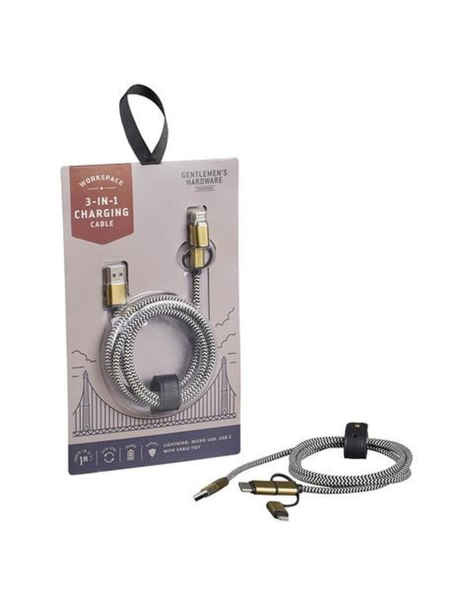 3 in 1 Charging Cable in Cream