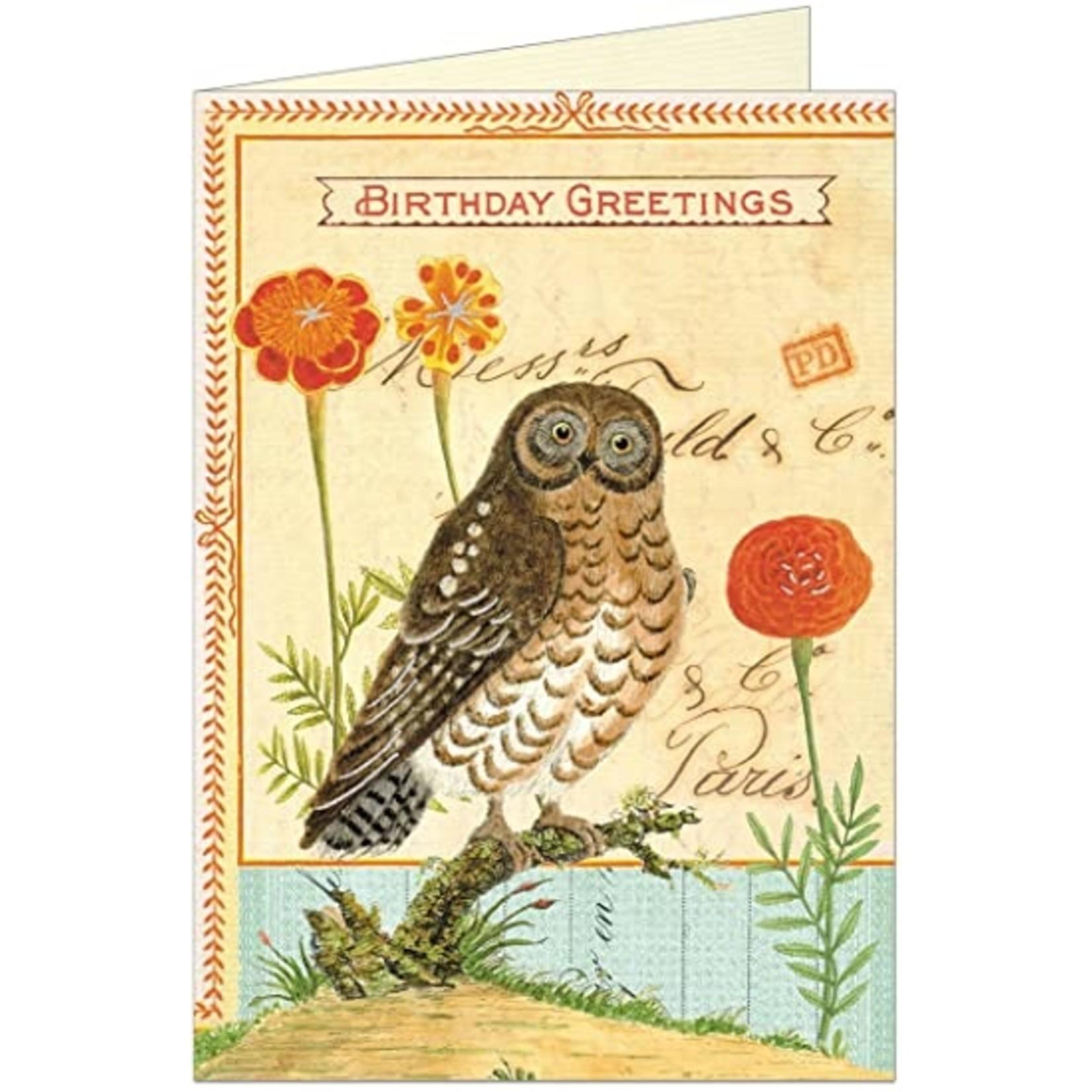 Birthday Card: Glitter Owl