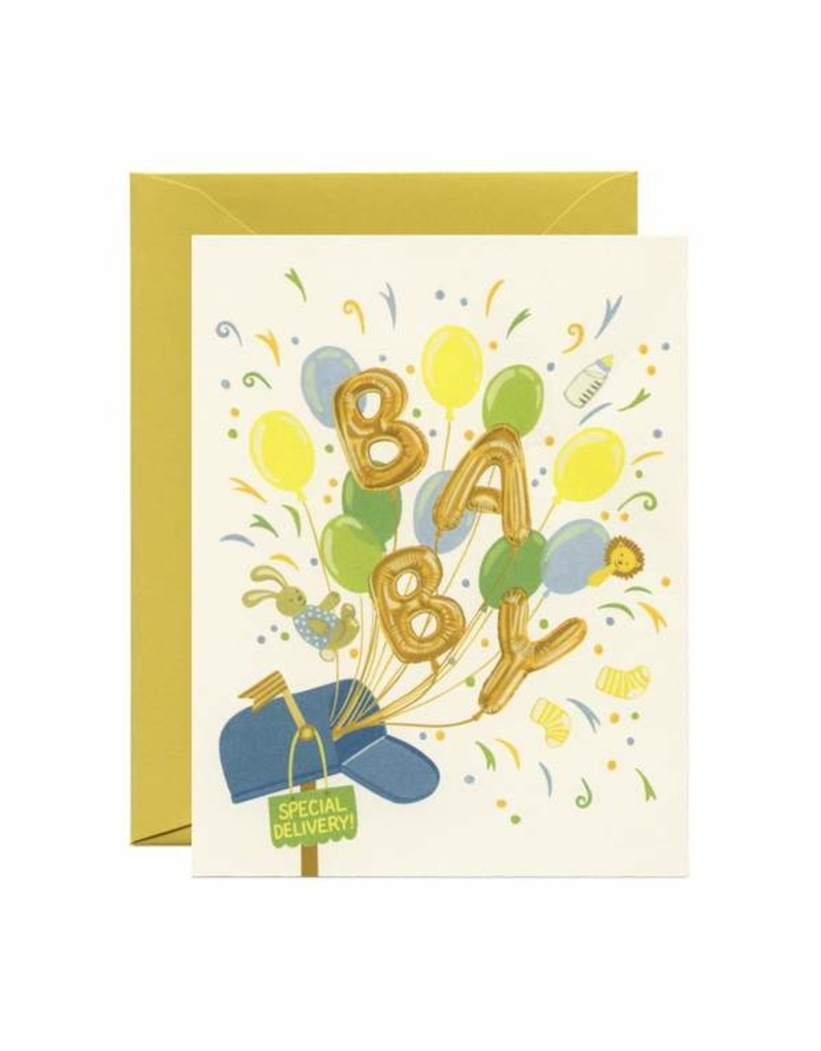 Baby Card:  Special Delivery Balloons
