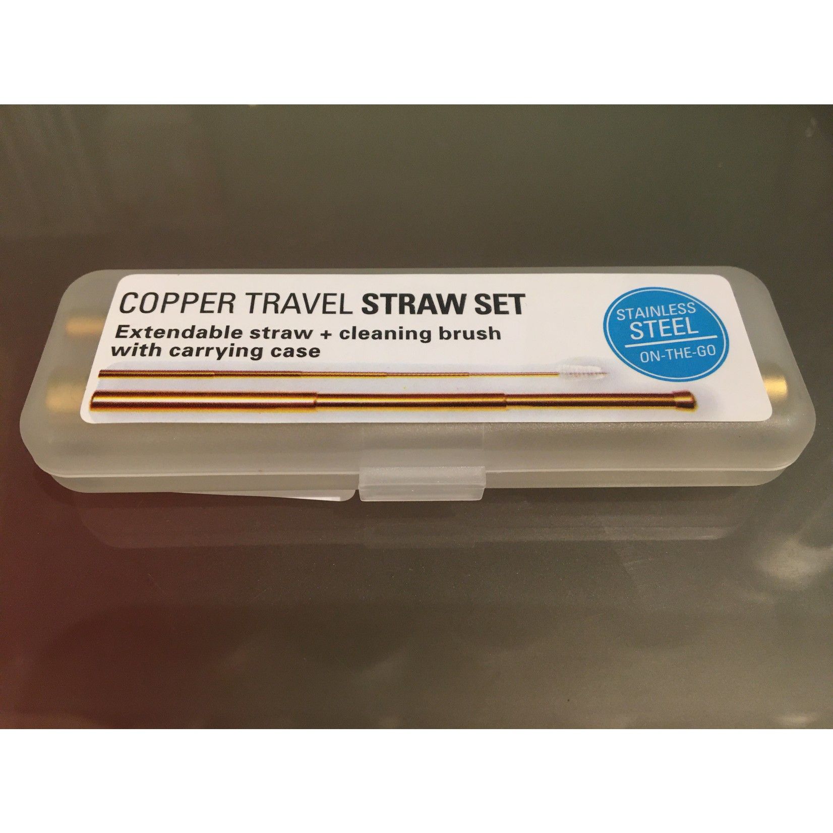 Kikkerland Copper/Brass Travel Straw Set
