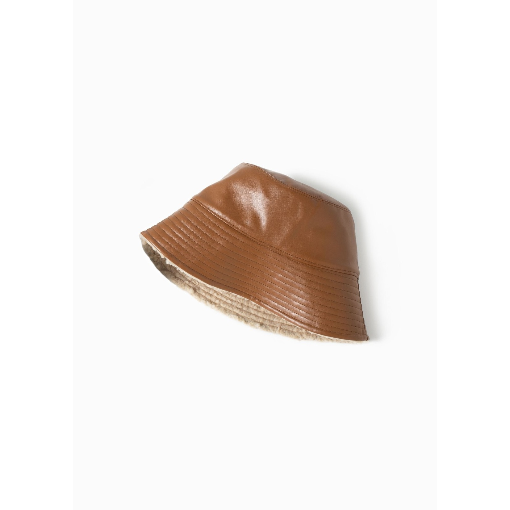 Look By M Reversible Leather Bucket Camel