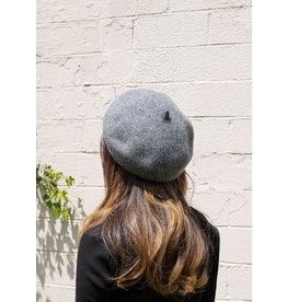 Look By M Knit Wool Beret Charcoal