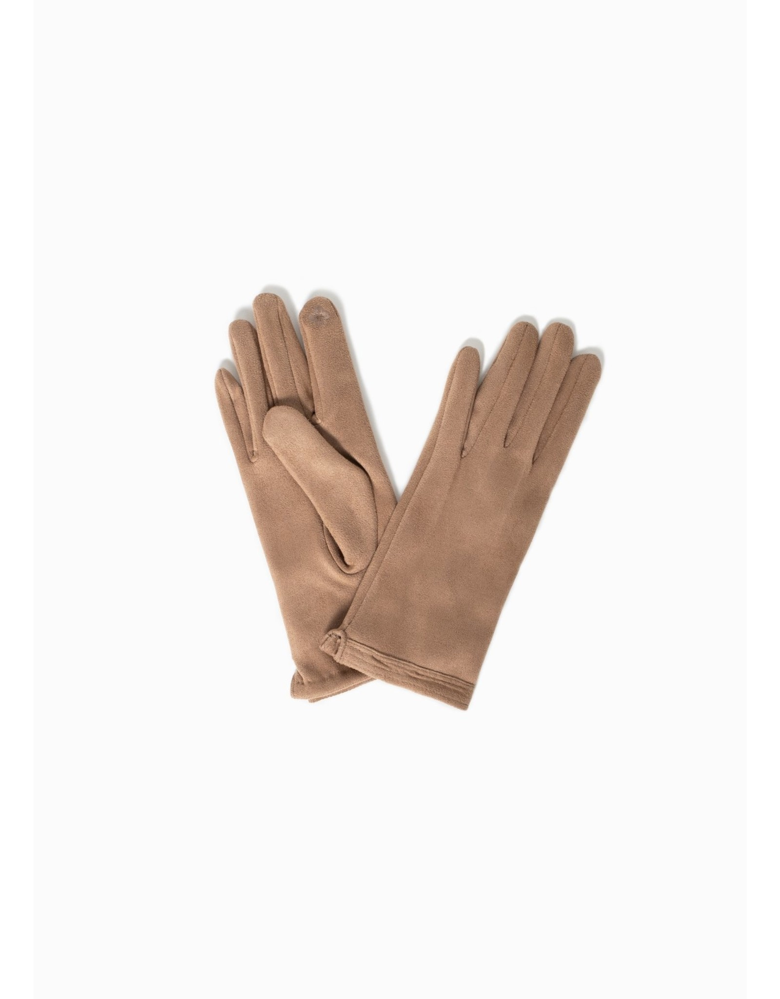 Look By M Stitch Point Suede Gloves Tan