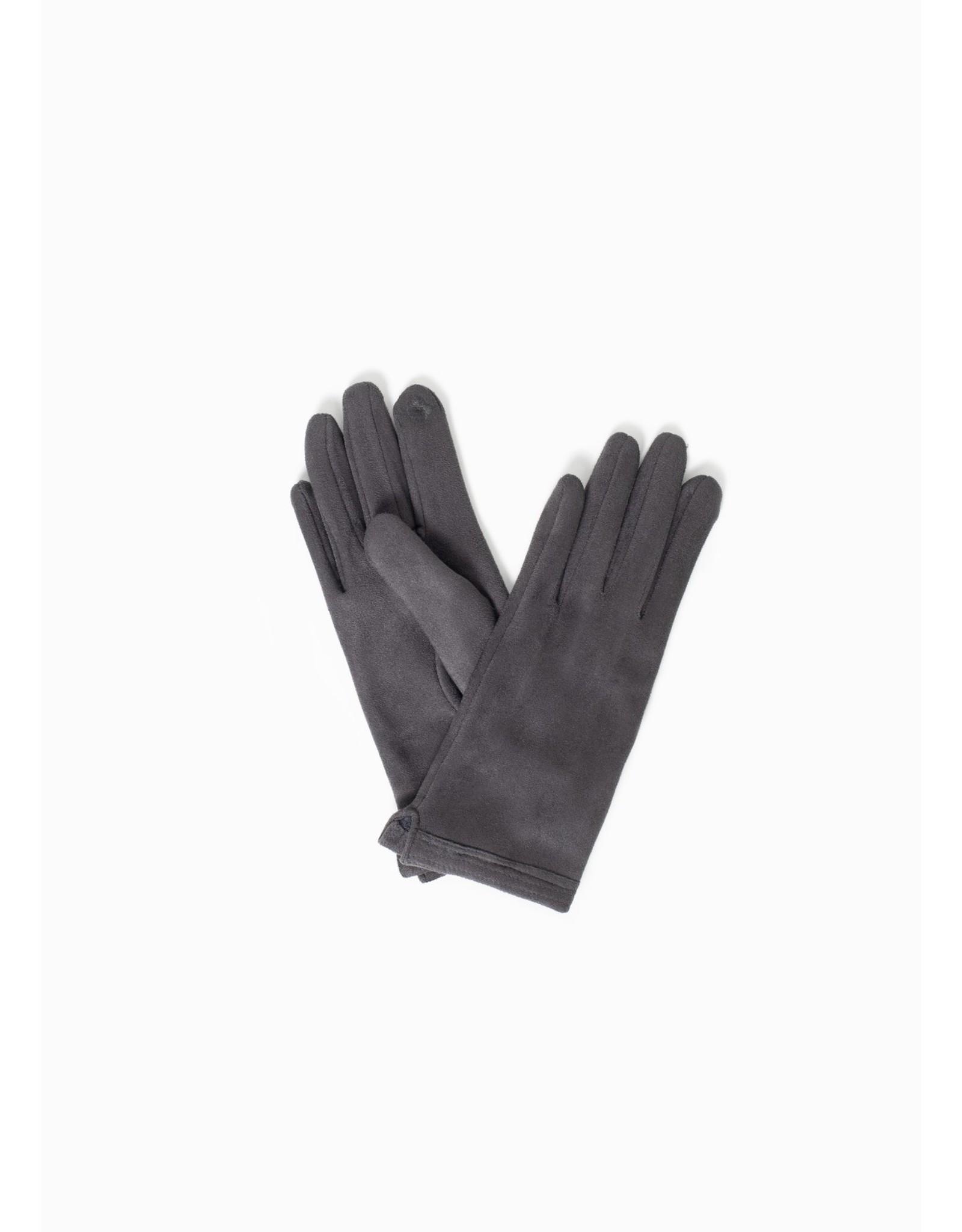 Look By M Stitch Point Suede Gloves Grey