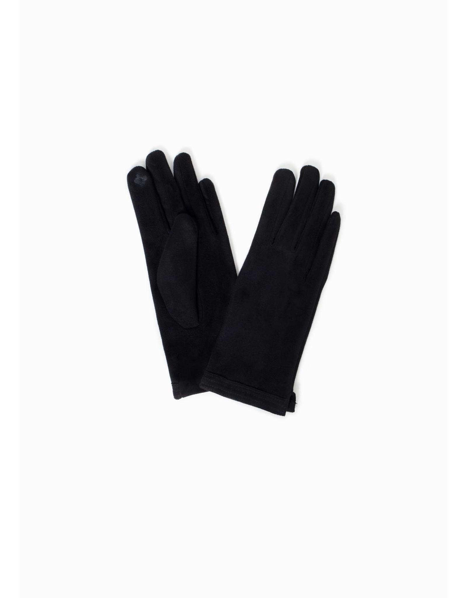 Look By M Stitch Point Suede Gloves Black