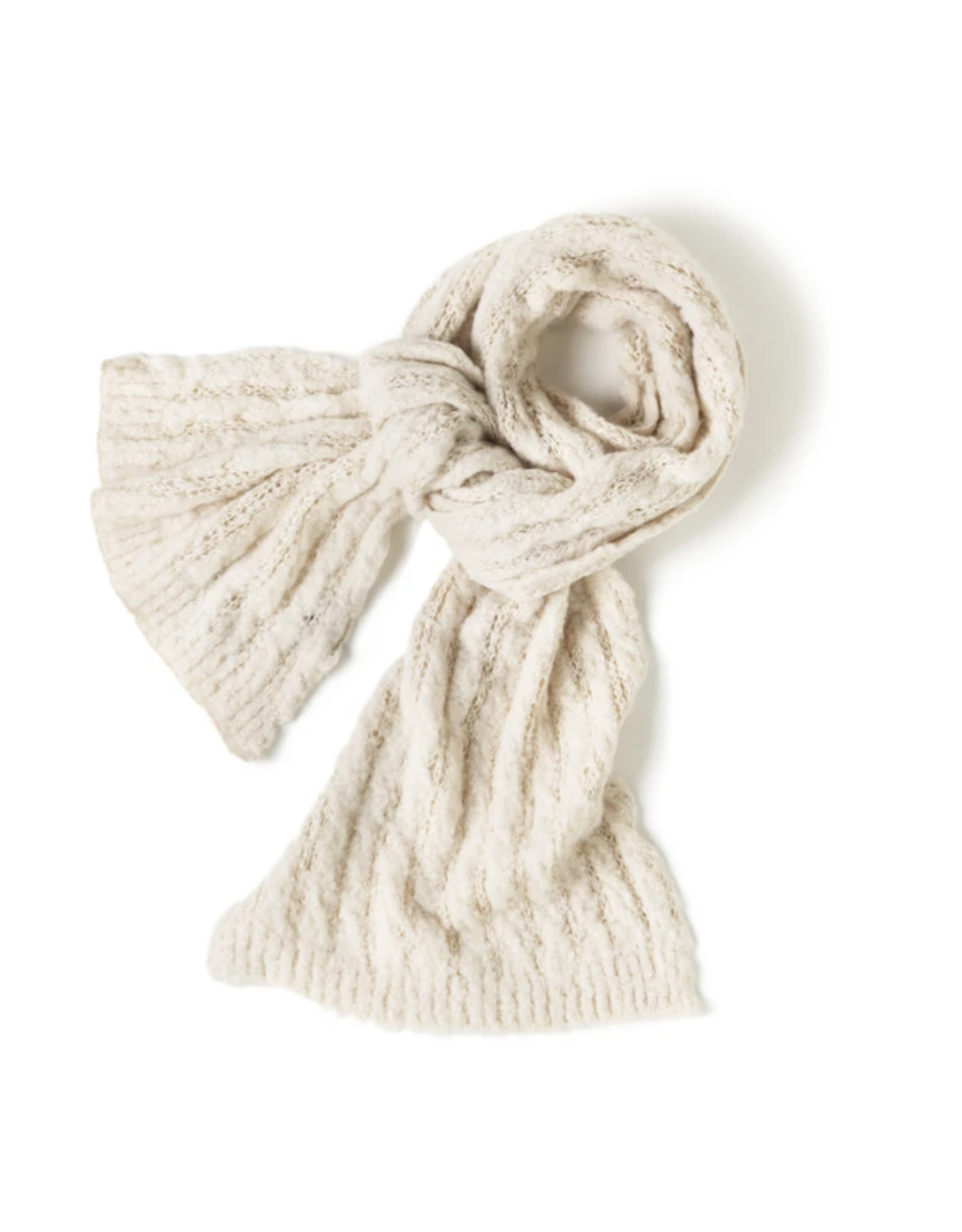 Look By M Crochet Ribbed Scarf Ivory