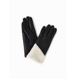 Look By M Asymmetrical Shearling Leather Gloves Black