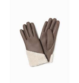 Look By M Asymmetrical Shearling Leather Gloves Taupe
