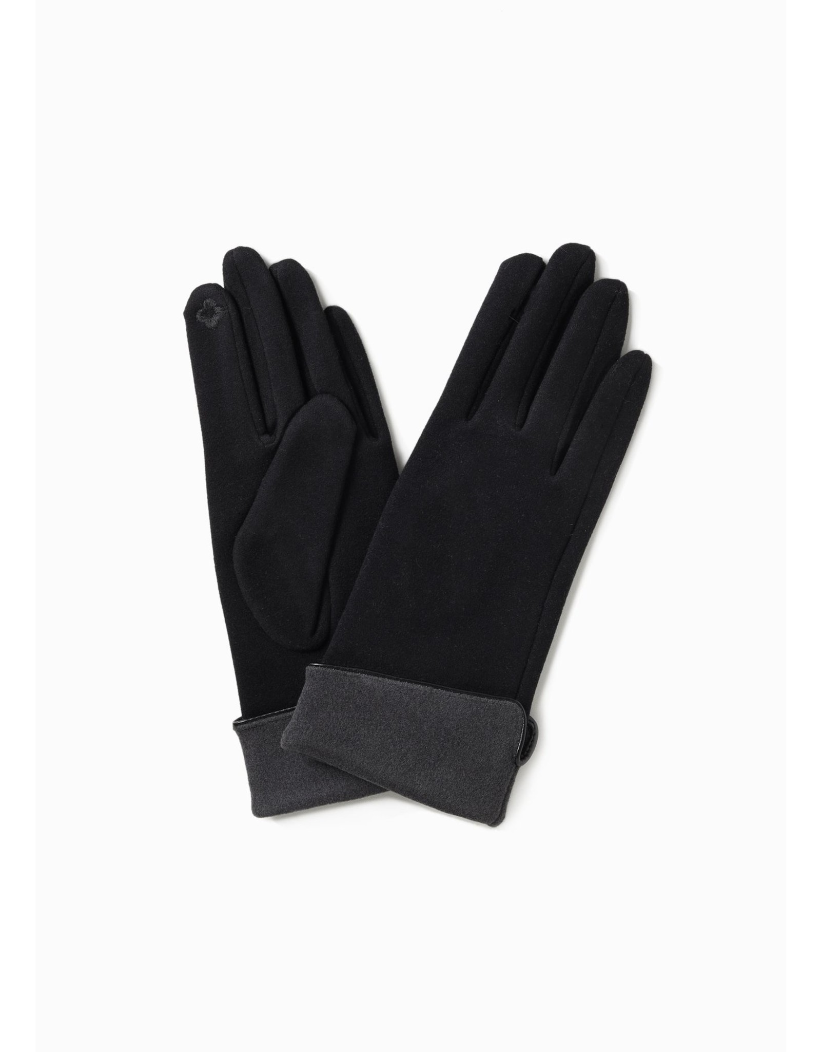 Look By M Two Tone Trimmed Gloves Black