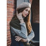 Look By M Striped Stitch Puffer Gloves Tan