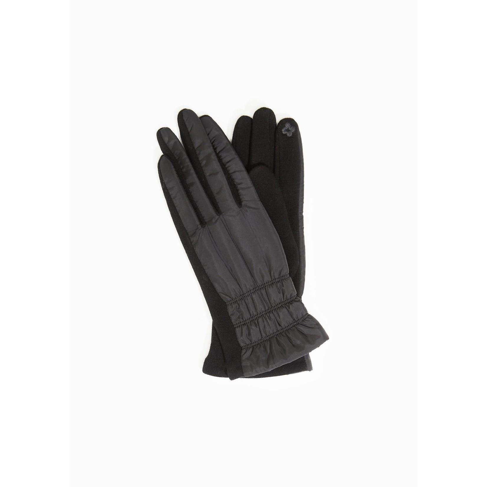 Look By M Striped Stitch Puffer Gloves Black