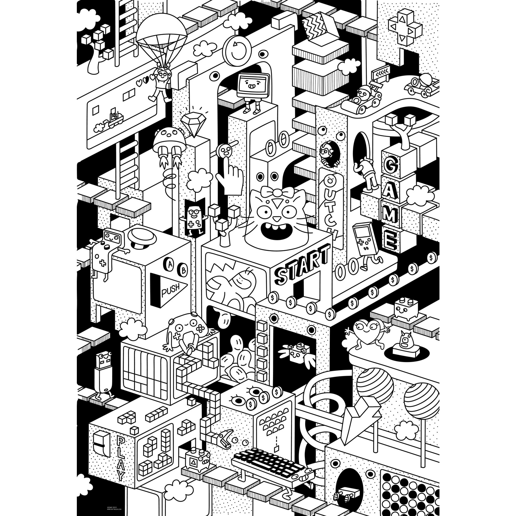3D Giant Coloring Poster