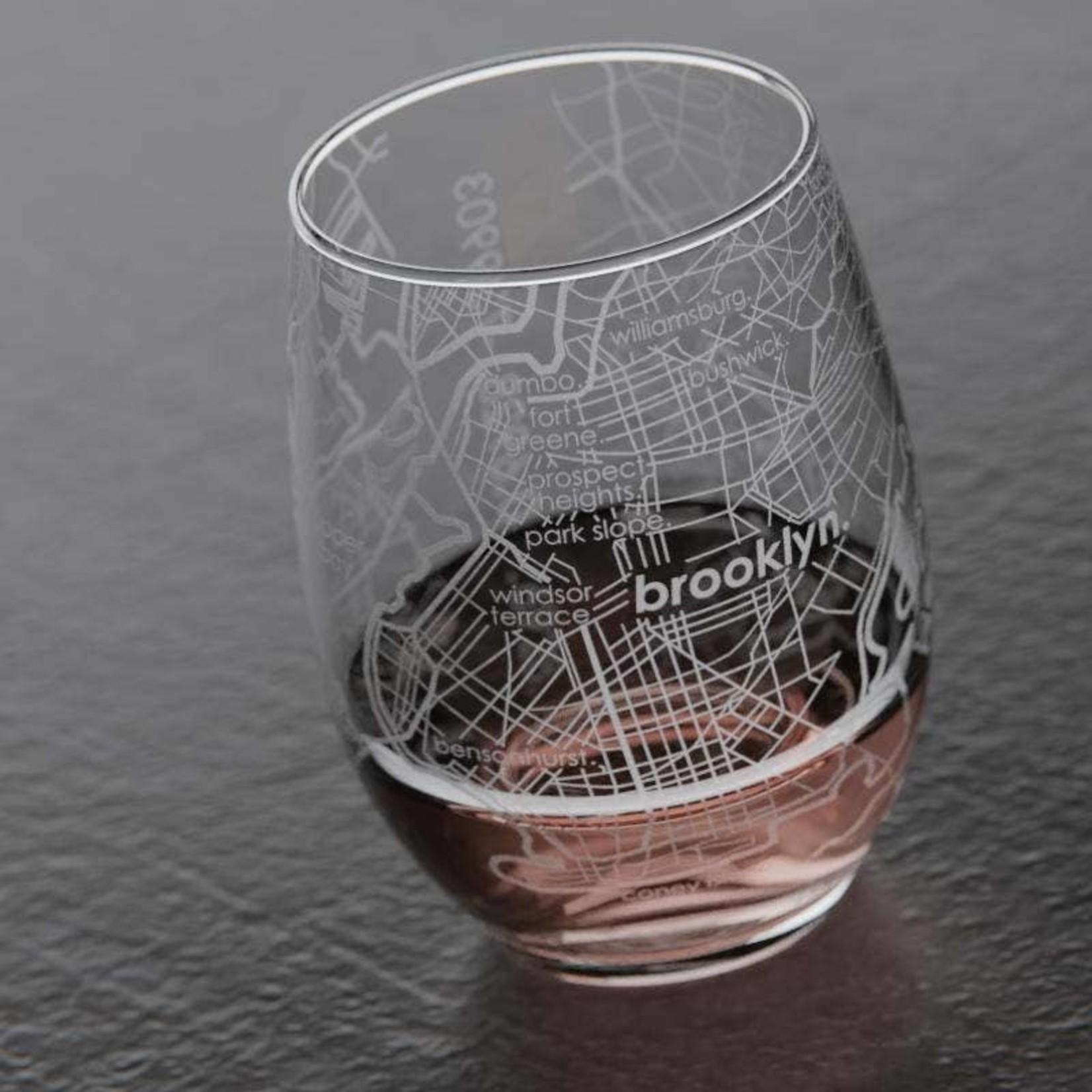 Brooklyn Map Stemless Wine Glass