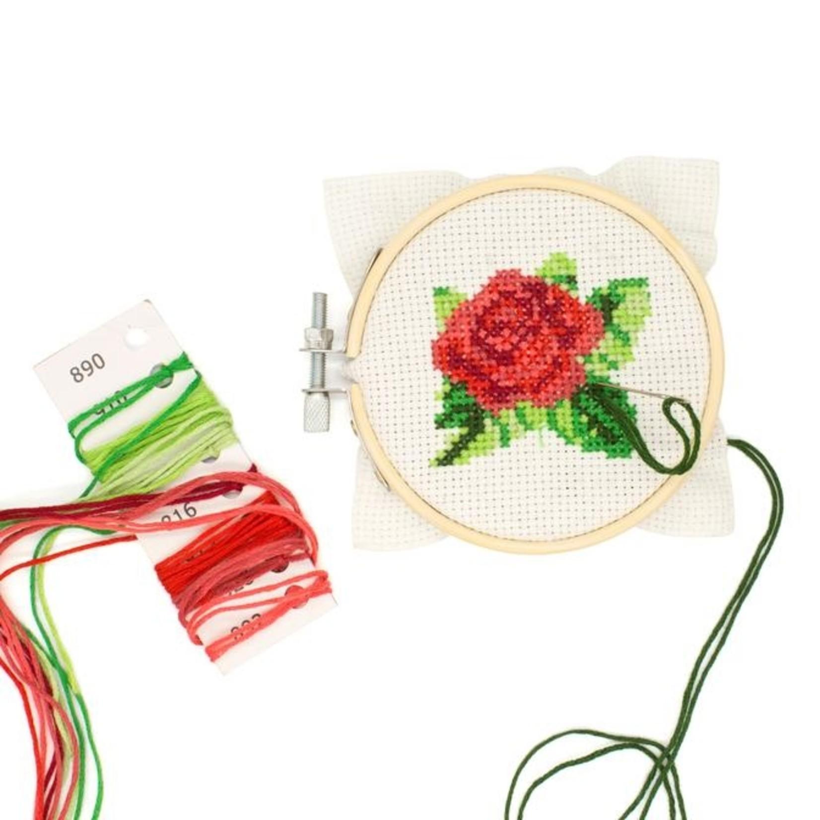 Kikkerland Mini Cross Stitch Flower Kit