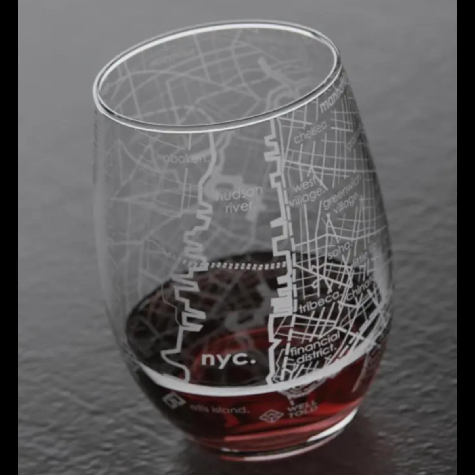 NYC Map Stemless Wine