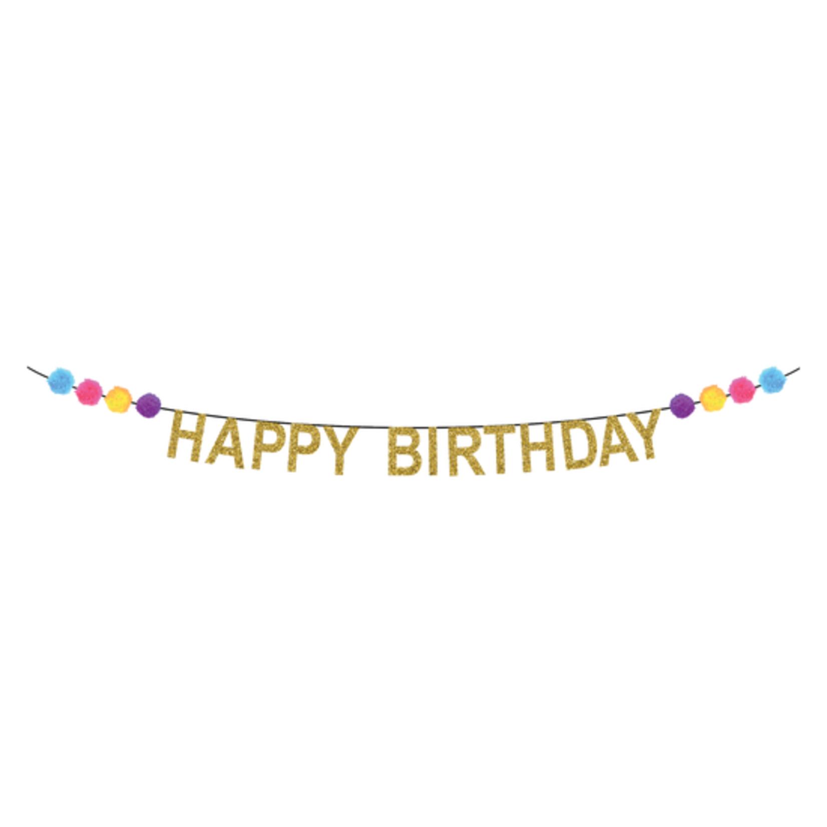 PomPom Gold Birthday Banner