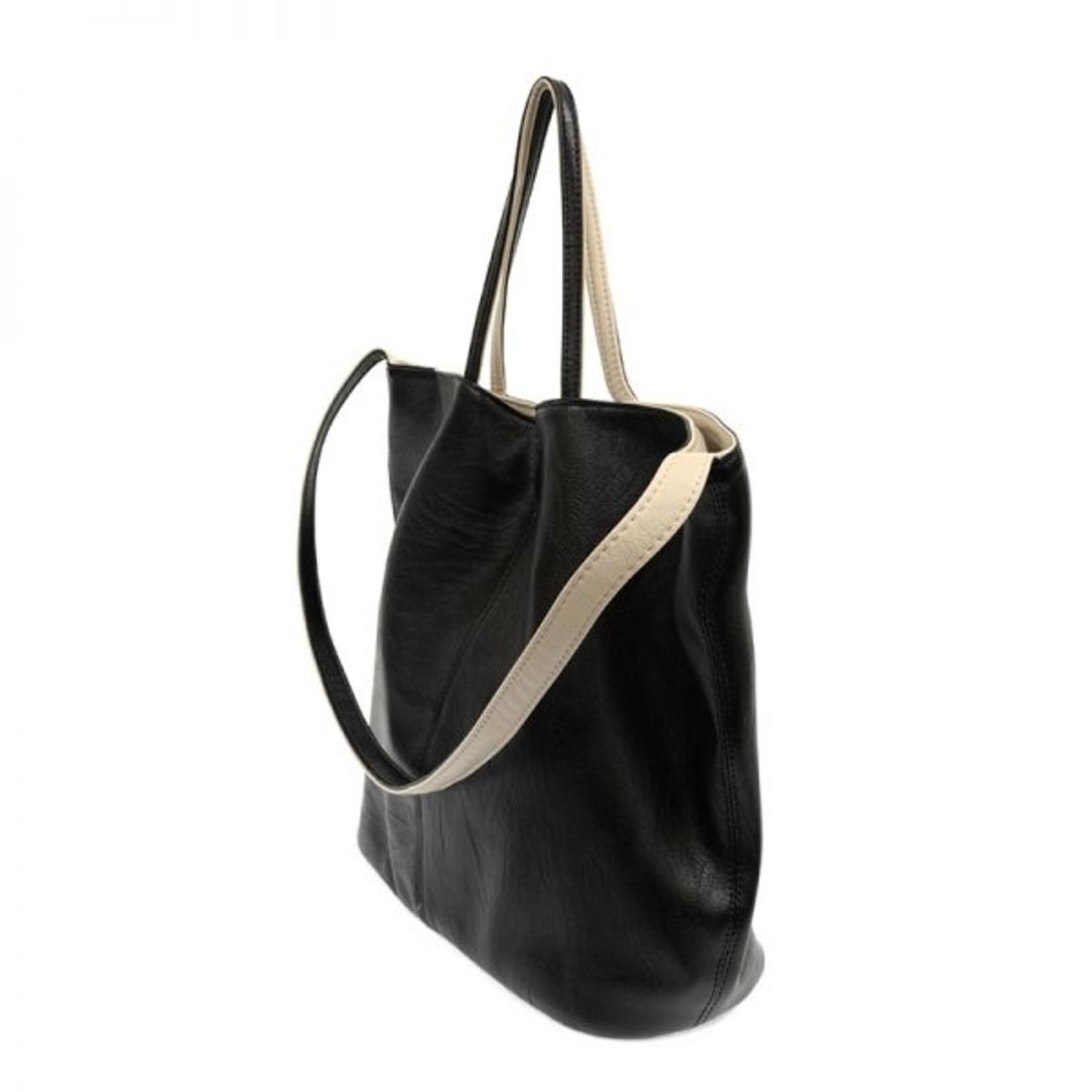 Joy Accessories Riley Reversible Slouchy Hobo Handbag in Black