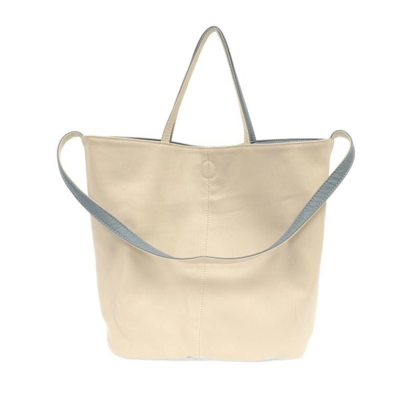 Joy Accessories Riley Reversible Slouchy Hobo Handbag in Chambray
