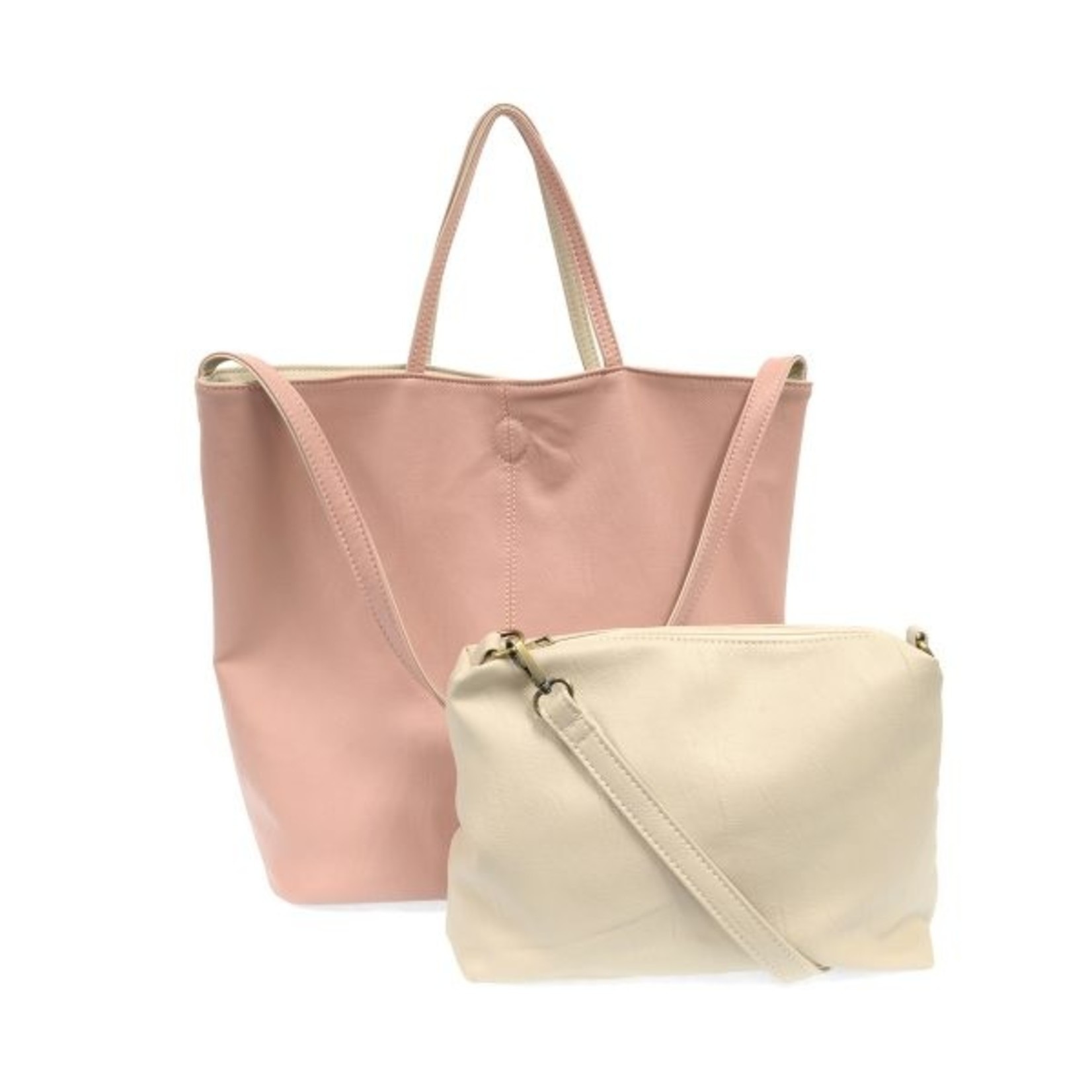 Joy Accessories Riley Reversible Slouchy Hobo Handbag in Pink
