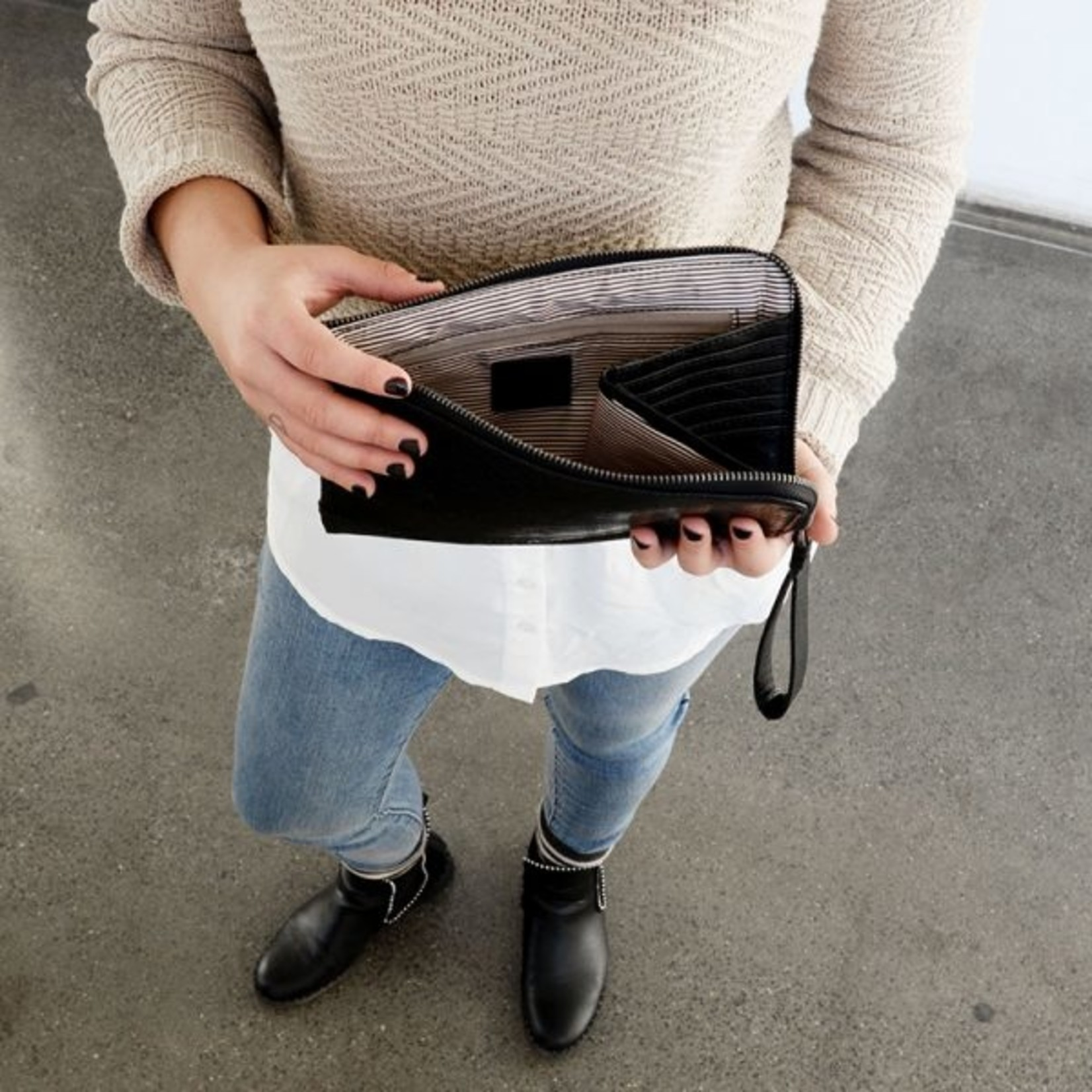 Joy Accessories Tina Python Zip Around Wristlet in Black